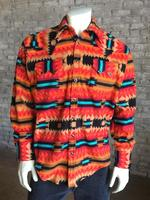 B Rockmount Ranch Wear Men's Western Shirt: Winter Fleece Native American Inspired Pattern Coral Backorder