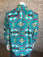 Rockmount Ranch Wear Men's Western Shirt: Winter Fleece Native American Inspired Pattern Turquoise 2X