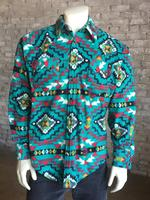 Rockmount Ranch Wear Men's Western Shirt: Winter Fleece Native American Inspired Pattern Turquoise