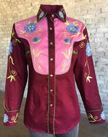 Rockmount Ranch Wear Ladies' Vintage Western Shirt: A Fancy Floral Burgundy