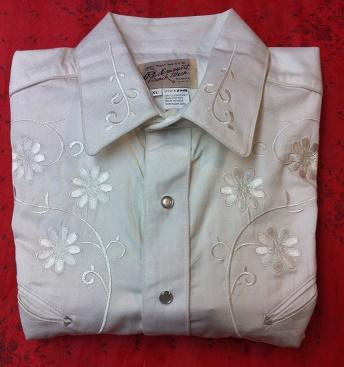Rockmount Ranch Wear Men's Vintage Western Shirt: Fancy Classic Tone on Tone Floral Embroidery White 2X
