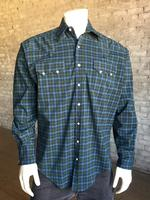 Rockmount Ranch Wear Men's Western Shirt: A Plaid Cotton Blend Navy Green 2X