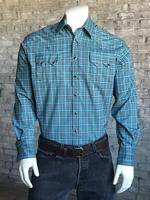 Rockmount Ranch Wear Men's Western Shirt: A Check Windowpane Turquoise