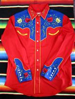 ZSold Rockmount Ranch Wear Ladies' Vintage Western Shirt: Fancy Roses 2 Tone Blue on Red XS-XL SOLD