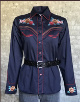 Rockmount Ranch Wear Ladies' Vintage Western Shirt: A Fancy Roses Navy