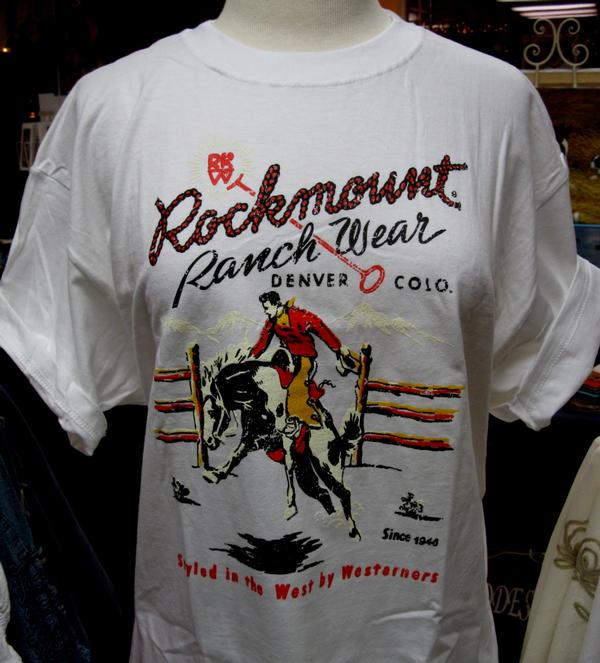 Rockmount Ranch Wear Unisex T-Shirt: Signature Bronc Short Sleeve White  L-2XL
