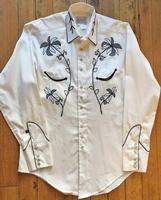 Rockmount Ranch Wear Men's Vintage Western Shirt: A A Monochromatic Cowboy Vintage Floral Embroidery M-XL