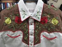 ZSold Rockmount Ranch Wear Ladies' Vintage Western Shirt: Fancy Roses 2 Tone Brown on Tan S-L SOLD