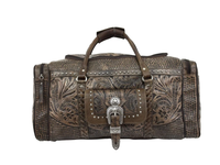 American West Handbag ZZ Travel Collection: Retro Luggage Rodeo Bag Distressed Charcoal