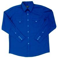 White Horse Men's Western Shirt: Solid Classic Pocket Royal Blue
