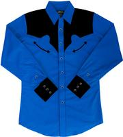 White Horse Men's Vintage Western Shirt: Retro Black and Royal