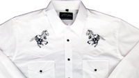 White Horse Men's Vintage Western Shirt: Embroidered Running Horse White