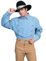 Scully Men's Old West Shirt: Rangewear Cotton Bib Denim