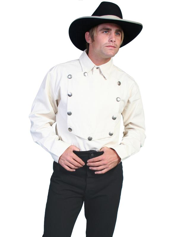 Scully Men's Old West Shirt: Rangewear Cotton Bib Natural Backordered
