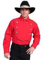 Scully Men's Old West Shirt: Rangewear Cotton Bib Red Backordered