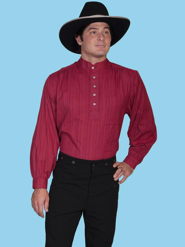 Scully Men's Old West Shirt: Rangewear Cotton Band Collar Pullover ...