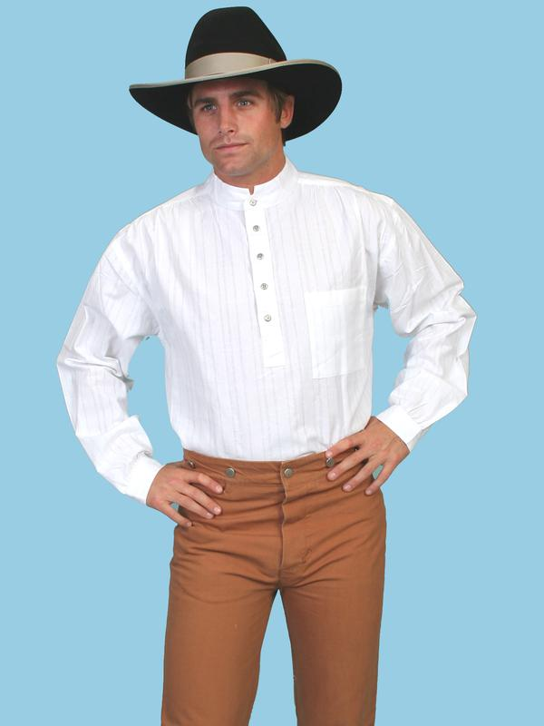 Scully Men's Old West Shirt: Rangewear Cotton Band Collar Pullover White