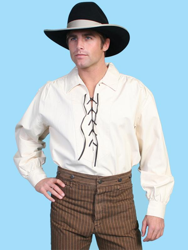 Scully Men's Old West Shirt: Rangewear Cotton Pullover Lacing Natural