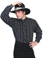 Scully Men's Old West Shirt: Rangewear Cotton Band Collar Stripe Dark Black