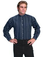 Scully Men's Old West Shirt: Rangewear Cotton Band Collar Stripe Dark Blue