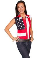 A Scully Ladies' Vintage Western Shirt: The Patriot Stars and Stripes Sleeveless XS-2XL
