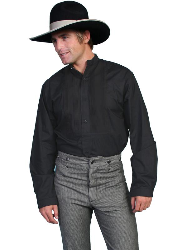 Scully Men's Old West Shirt: Rangewear Gambler Cotton Pullover Black