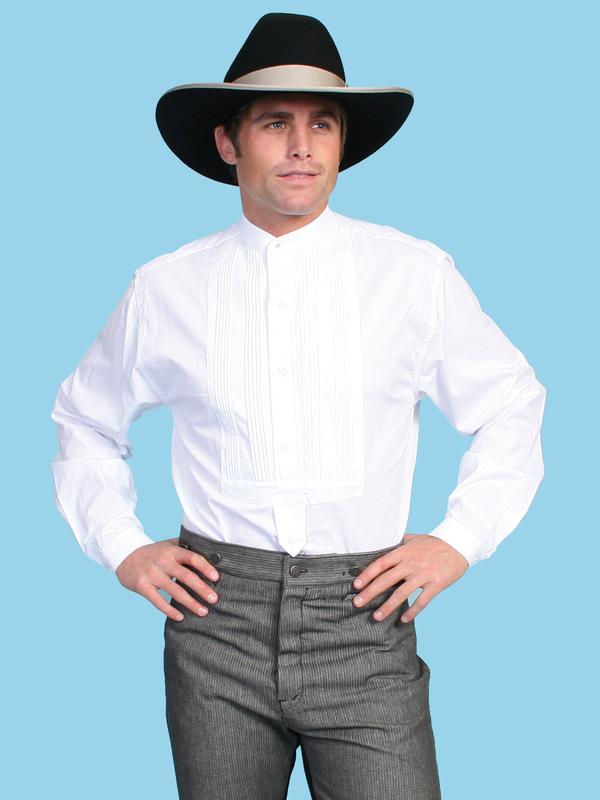 Scully men 39 s old west shirt rangewear gambler cotton for Mens big and tall banded collar shirts