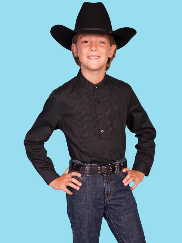 Scully Childrens Shirt : Rangewear Tuxedo Gambler Black XS-XL