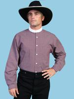 ZSold Scully Men's Old West Shirt: Rangewear Cotton Stripe Print Contrasting Burgundy S-2X SOLD