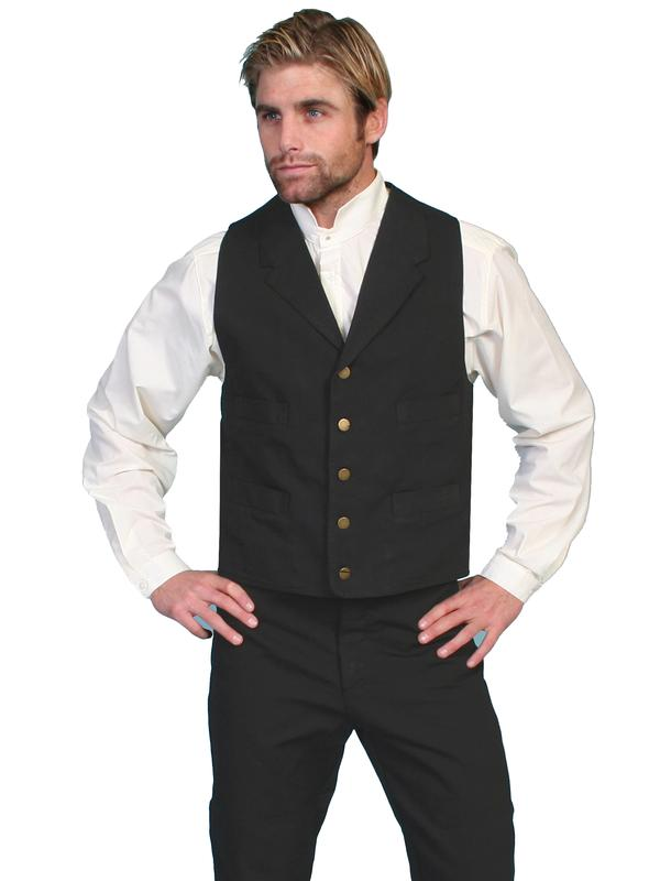 Scully men 39 s old west vest rangewear cotton canvas 4 for Size 5x mens dress shirts