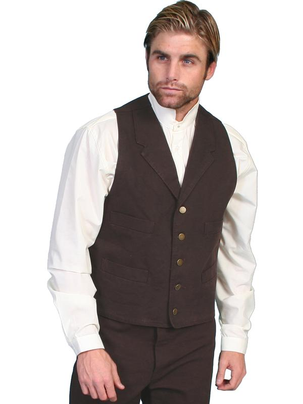 Scully Men's Old West Vest: Rangewear Cotton Canvas 4 Pocket Walnut S-2X, Big/Tall 5X-4X, 3X-3XT