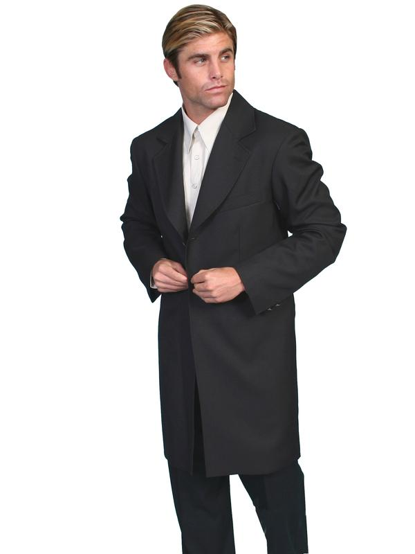 Scully Men's Old West Coat: Rangewear Frock Coat with Stamped Metal Buttons