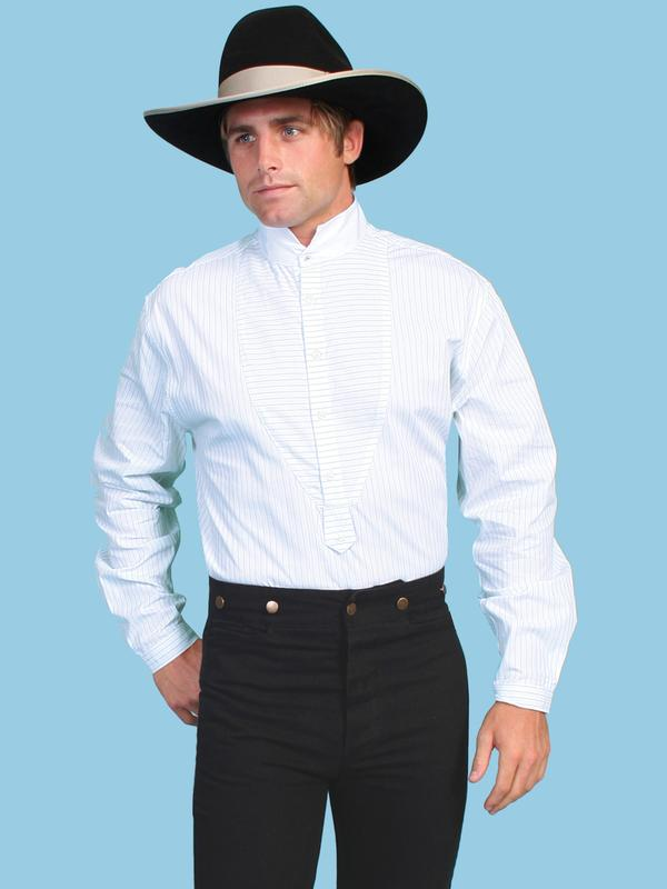 Scully Men's Old West Shirt: Rangewear Cotton Stripe Print Contrasting White