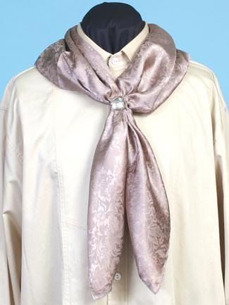 Scully Men's Accessory: Rangewear Scarf Silk Jacquard Square Taupe
