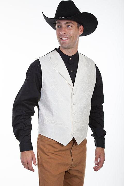 Scully Men's Old West Vest: Rangewear Paisley Cream