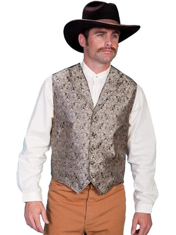 Scully Men's Old West Vest: Rangewear Paisley Taupe