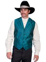 Scully Men's Old West Vest: Rangewear Paisley Teal