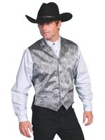 Scully Men's Old West Vest: Rangewear Traditional Paisley Grey S-2X, B/T 3X-4X