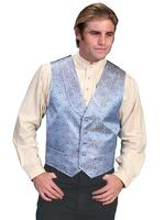 ZSold Scully Men's Old West Vest: Rangewear Shawl Collar Blue SOLD