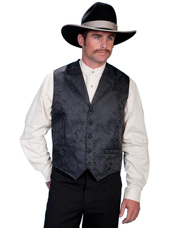 Scully Men's Old West Vest: Rangewear Notched Lapels Dragon Pattern Black