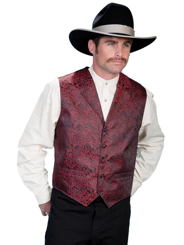 Scully Men's Old West Vest: Rangewear Notched Lapels Dragon Pattern Red