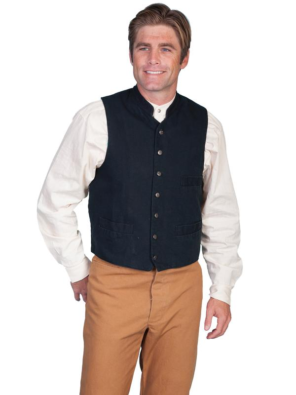 Scully Men's Old West Vest: Rangewear Cotton Canvas Three Pocket Black S-2X Big/Tall 3X-4X