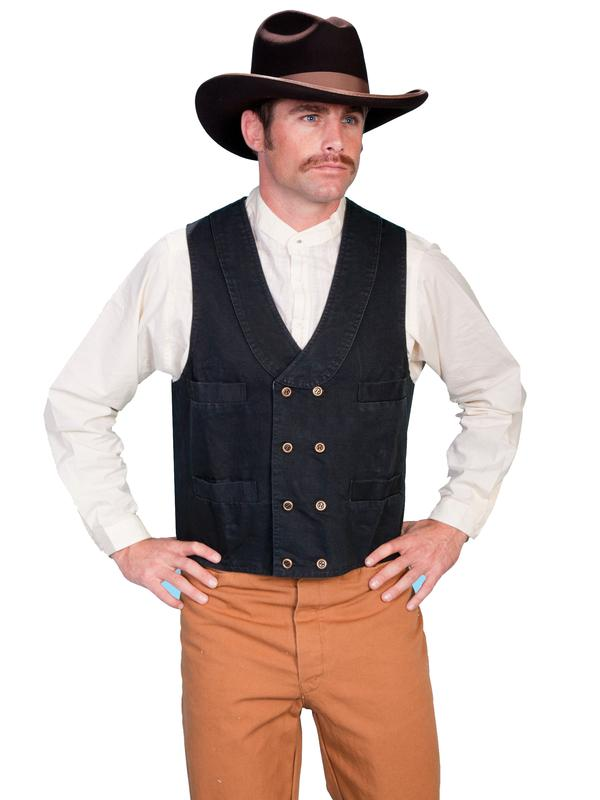 Scully Men's Old West Vest: Rangewear Cotton Canvas Double Breasted Black S-2X Big/Tall 3X-4X