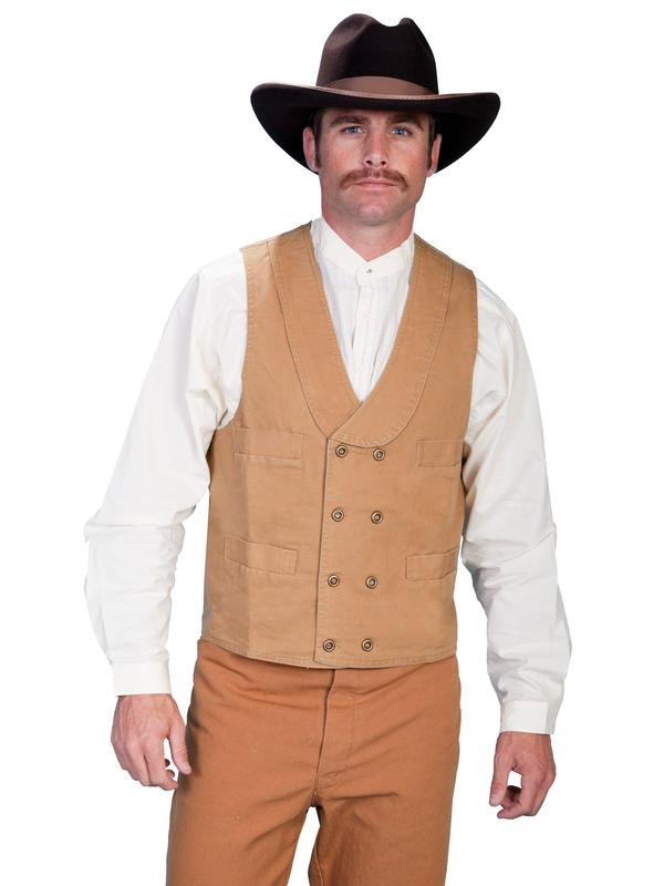 a191ba4f4 Scully Men's Old West Vest: Rangewear Cotton Canvas Double Breasted Brown