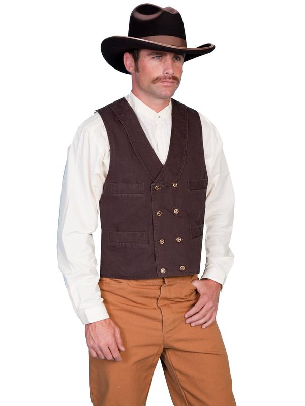 Scully Men's Old West Vest: Rangewear Cotton Canvas Double Breasted Walnut S-2X Big/Tall 3X-4X