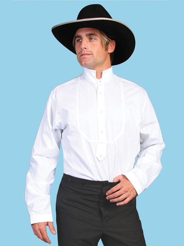 Scully Men's Old West Shirt: Rangewear Cotton Stand Up Collar Pullover White Backordered