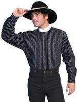 Scully Men's Old West Shirt: Rangewear Cotton Stripe Print Black Backordered