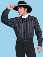 Scully Men's Old West Shirt: Rangewear Cotton Stripe Print Black S-2X Big/Tall 3X-4X, LT-3XT