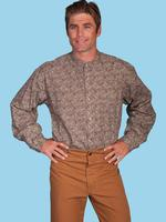 ZSold Scully Men's Old West Shirt: Rangewear Cotton Band Collar Paisley Brown S-XL SOLD