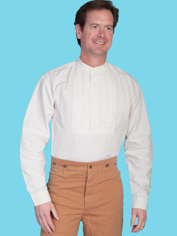7f889a48 Scully Men's Old West Shirt: Rangewear Cotton Pullover Pleated Bib Ivory  M-2X Big